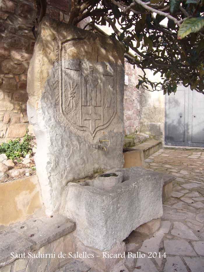 Església de Sant Sadurní de Salelles – Sant Salvador de Guardiola-Font que hi ha a la placeta del davant de l'església.