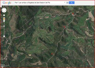 Part 1 de la ruta d'accés a l'església de Sant Sadurní del Pla / Avinyó - Captura de pantalla de Google Maps, complementada amb anotacions manuals.