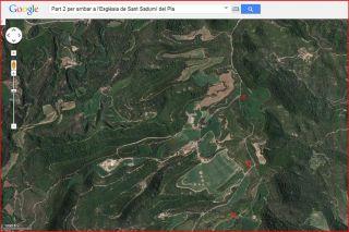 Part 2 de la ruta d'accés a l'església de Sant Sadurní del Pla / Avinyó - Captura de pantalla de Google Maps, complementada amb anotacions manuals.