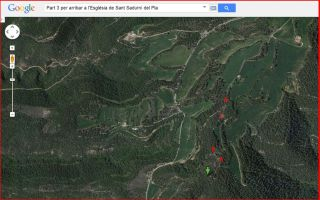 Part 3 de la ruta d'accés a l'església de Sant Sadurní del Pla / Avinyó - Captura de pantalla de Google Maps, complementada amb anotacions manuals.