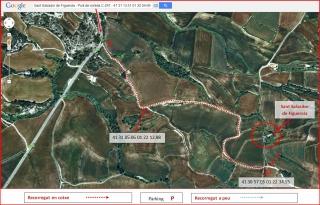 Església de Sant Salvador de Figuerola – Les Piles - Itinerari - Captura de pantalla de Google Maps, complementada amb anotacions manuals.