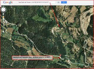 Església de Sant Serni de Terrers-Itinerari-Captura de pantalla de Google Maps complementada amb anotacions manuals.