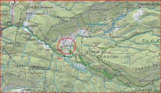 Església de Sant Serni de Terrers-Itinerari-Captura de pantalla d'un mapa del Institut Cartogràfic de Catalunya, complementada amb anotacions manuals.