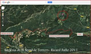 Església de Sant Serni de Terrers-Itinerari des de la Torre del Riu-Captura de pantalla de Google Maps complementada amb anotacions manuals.