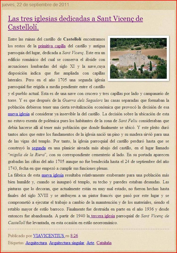 Las tres iglésias dedicadas a Sant Vicenç de Castellolí