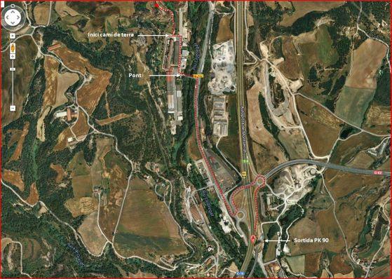 Església de Sant Vicenç d'Obiols – Avià - Itinerari - Captura de pantalla de Google Maps, complementada amb anotacions manuals.
