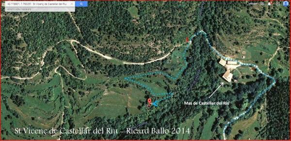 Església de Sant Vicens de Castellar – Castellar del Riu - Ruta final- Captura de pantalla de Google Maps, complementada amb anotacions manuals.