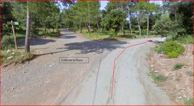 Església de Santa Creu de La Plana – Santa Maria d'Oló - Itinerari - Paratge: El Collet de La Plana - Captura de pantalla de Google Maps.
