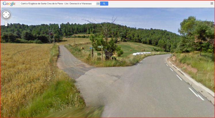 Església de Santa Creu de La Plana – Santa Maria d'Oló - Itinerari - Paratge: Desviació a l'església de Sant Vicenç de Vilarasau - Captura de pantalla de Google Maps.