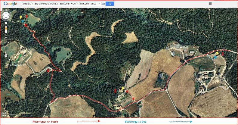 Església de Santa Creu de La Plana – Santa Maria d'Oló - Inici - Captura de pantalla de Google Maps, complementada amb anotacions manuals.