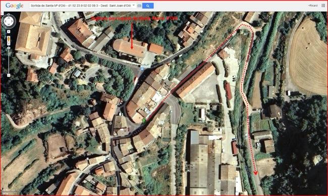 Església de Santa Creu de La Plana – Santa Maria d'Oló - Inici itinerari - Captura de pantalla de Google Maps, complementada amb anotacions manuals.