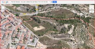 Camí a l'Església de Santa Creu de Palou – Mura - Itinerari inicial - Captura de pantalla de Google Maps, complementada amb anotacions manuals.
