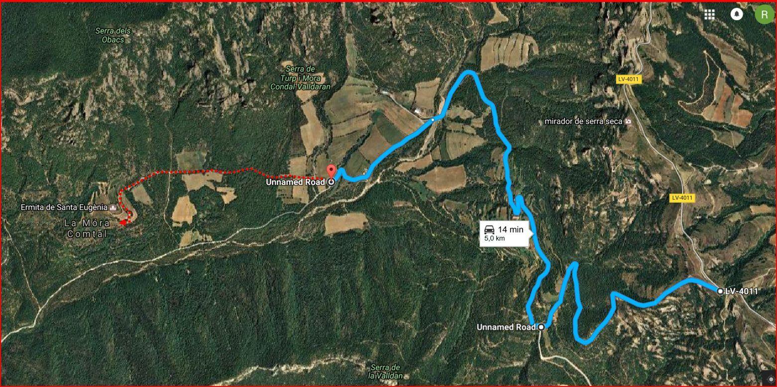 Camí a l\'Església de Santa Eugènia de la Mòra Comdal-ITINERARI-Captura de pantalla de Google Maps, complementada amb anotacions manuals