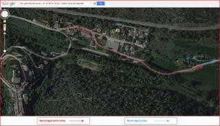 Església de Santa Llúcia de Rajadell – Rajadell - Part final de l'itinerari - Captura de pantalla de Google Maps, complementada amb anotacions manuals.