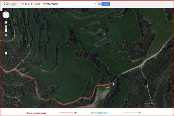 Esglesia de Santa Magdalena de Castelladral-Itinerari final - Captura de pantalla de Google Maps, complementada amb anotacions manuals.