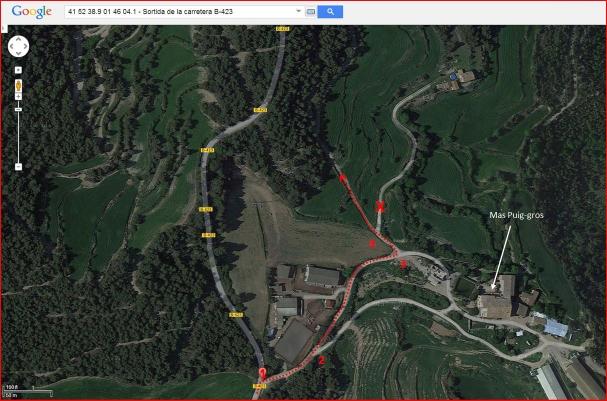 Esglesia de Santa Magdalena de Castelladral-Itinerari inicial - Captura de pantalla de Google Maps, complementada amb anotacions manuals.