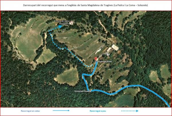 Esglesia Sta Magdalena de Tragines-Darrera part de l\'Itinerari - Captura de pantalla de Google Maps, complementada amb anotacions manuals.