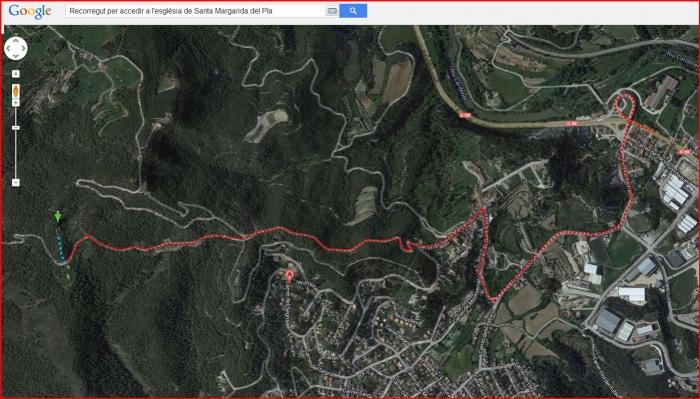 Església de Santa Margarida del Pla – Castellgalí - Captura de pantalla de Google Maps, complementada amb anotacions manuals.