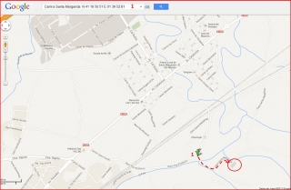 Església de Santa Margarida – Santa Margarida i els Monjos - Captura de pantalla de Google Maps, complementada amb anotacions manuals.