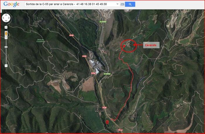 Església de Santa Maria de Cererols – Súria - Itinerari - Captura de pantalla de Google Maps, complementada amb anotacions manuals.
