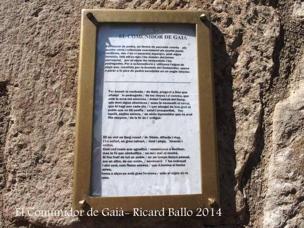 Església de Santa Maria de Gaià - Comunidor - Informació