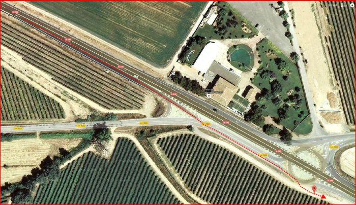 Camí a l'Església de Santa Maria de Margalef – Torregrossa - Mapa - Detall inici de l'itinerari. Captura de pantalla de Google Maps, complementada amb anotacions manuals
