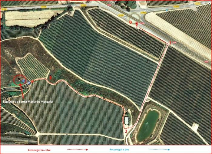 Camí a l'Església de Santa Maria de Margalef – Torregrossa - Mapa global de l'itinerari. Captura de pantalla de Google Maps, complementada amb anotacions manuals