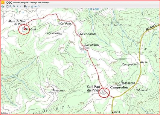 Església de Santa Maria de Pinós – Santa Maria de Merlès-Itinerari-Captura de pantalla de Google maps, complementada amb anotacions manuals.