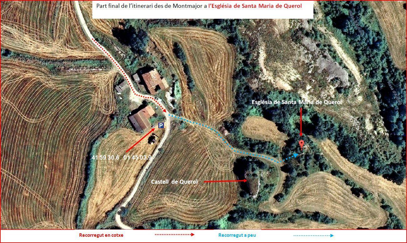 Església de Santa Maria de Querol-Detall de la part final de l'itinerari-Captura de pantalla de Google Maps, complementada amb anotacions manuals