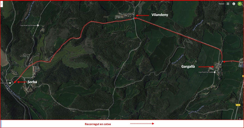 Església de Santa Maria de Sorba – Montmajor - Detall itinerari - Captura de pantalla de Google Maps, complementada amb anotacions manuals