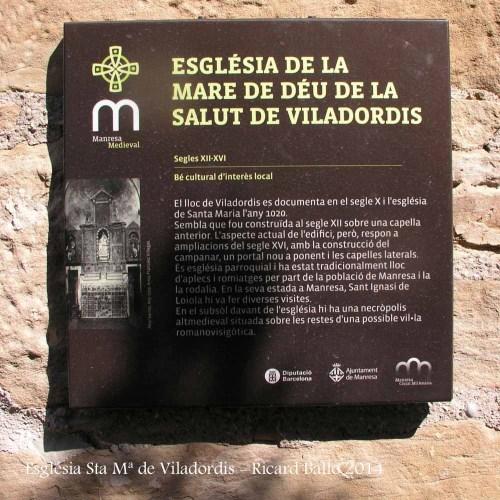 Església de Santa Maria de Viladordis – Manresa - Plafó informatiu situat al costat de l'església.