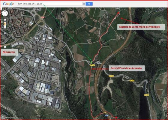 Església de Santa Maria de Viladordis – Manresa - Itinerari - Captura de pantalla de Google Maps, complementada amb anotacions manuals.