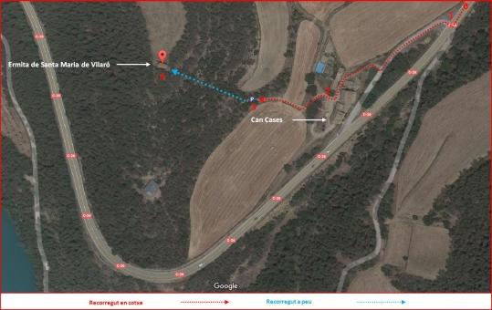 Ermita de Santa Maria de Vilaro-Itinerari-Captura de pantalla de Google Maps, complementada amb anotacions manuals.