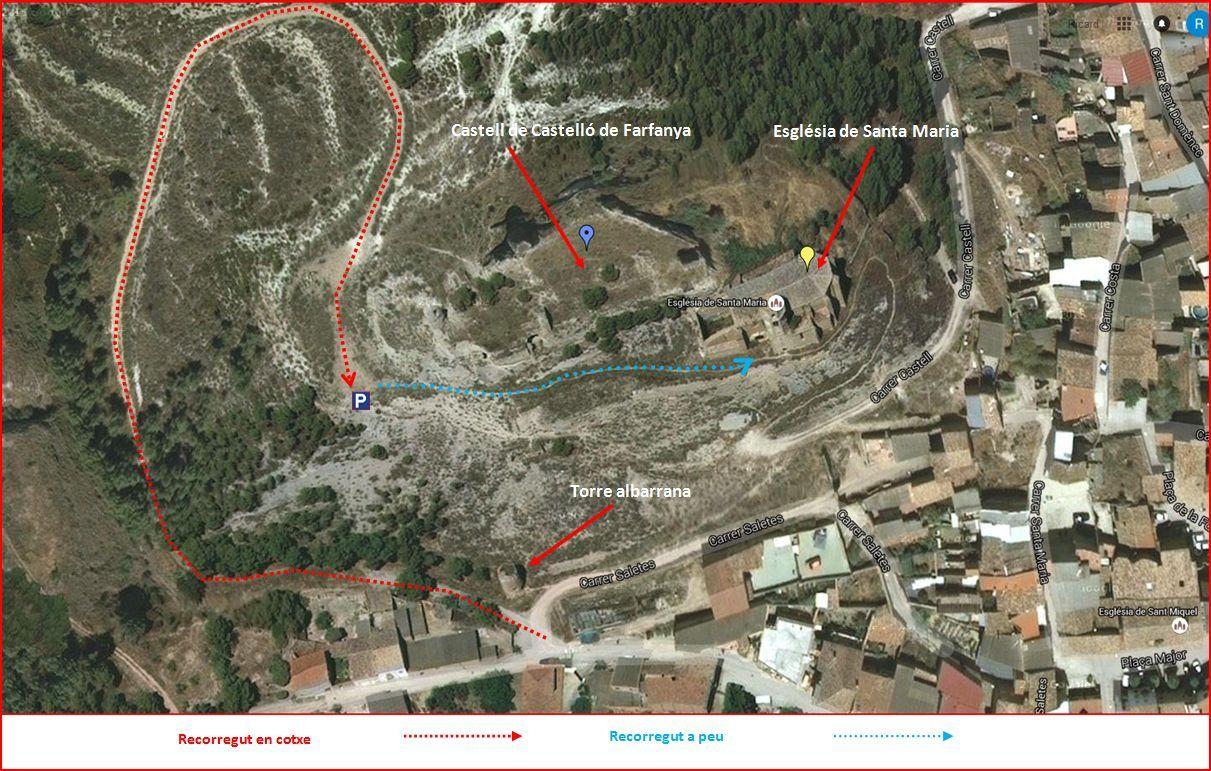 Església de Santa Maria del Castell de Farfanya - Itinerari - Detall part final - Captura de pantalla de Google Maps, complementada amb anotacions manuals