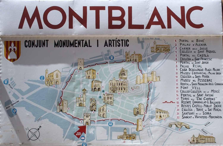 Mapa de Montblanc amb la situació de les edificacions més rellevants