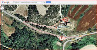 Església de Santa Maria – Veciana - Captura de pantalla de Google Maps, complementada amb anotacions manuals.