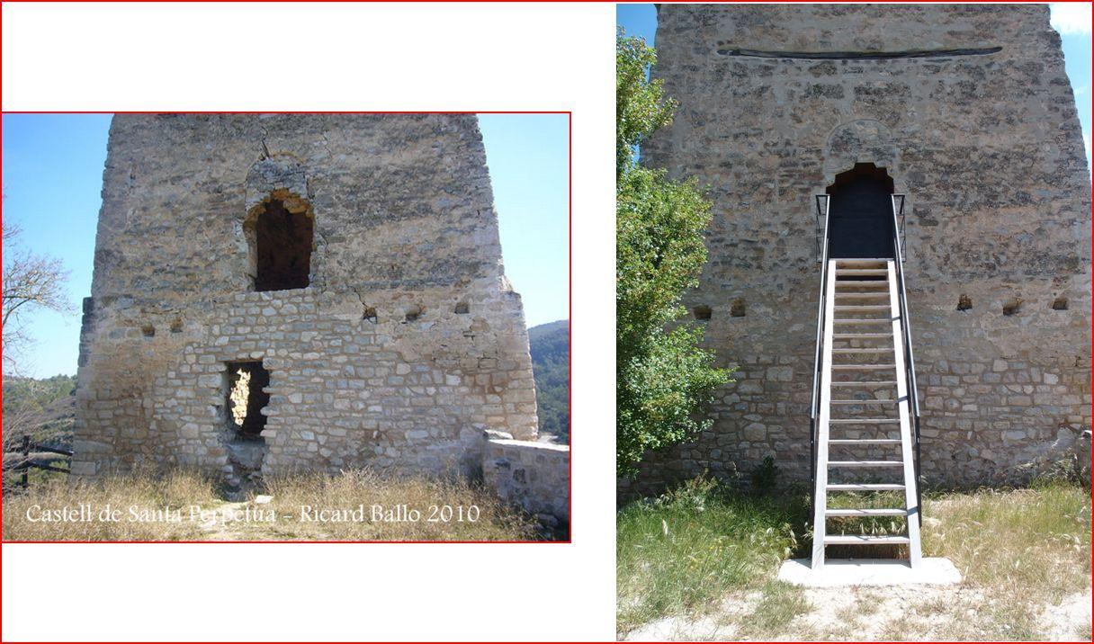 Castell de Santa Perpètua - Cinc anys separen aquestes imatges