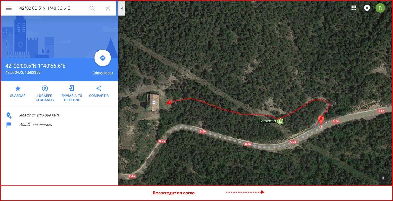 Esglesia de Sant Marti de Tentellatge-Captura de pantalla de Google Maps, complementada amb anotacions manuals