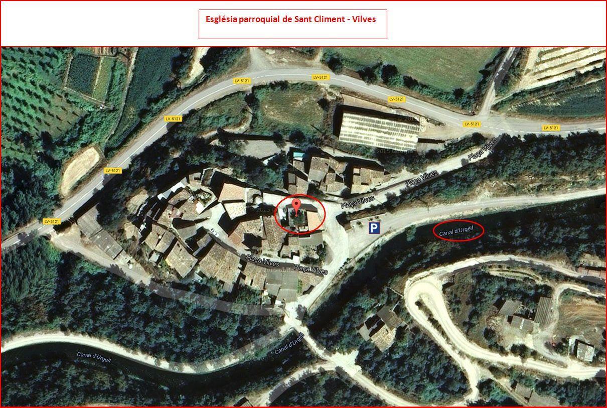 Església parroquial de Sant Climent de Vilves – Artesa de Segre - Captura de pantalla de Google Maps