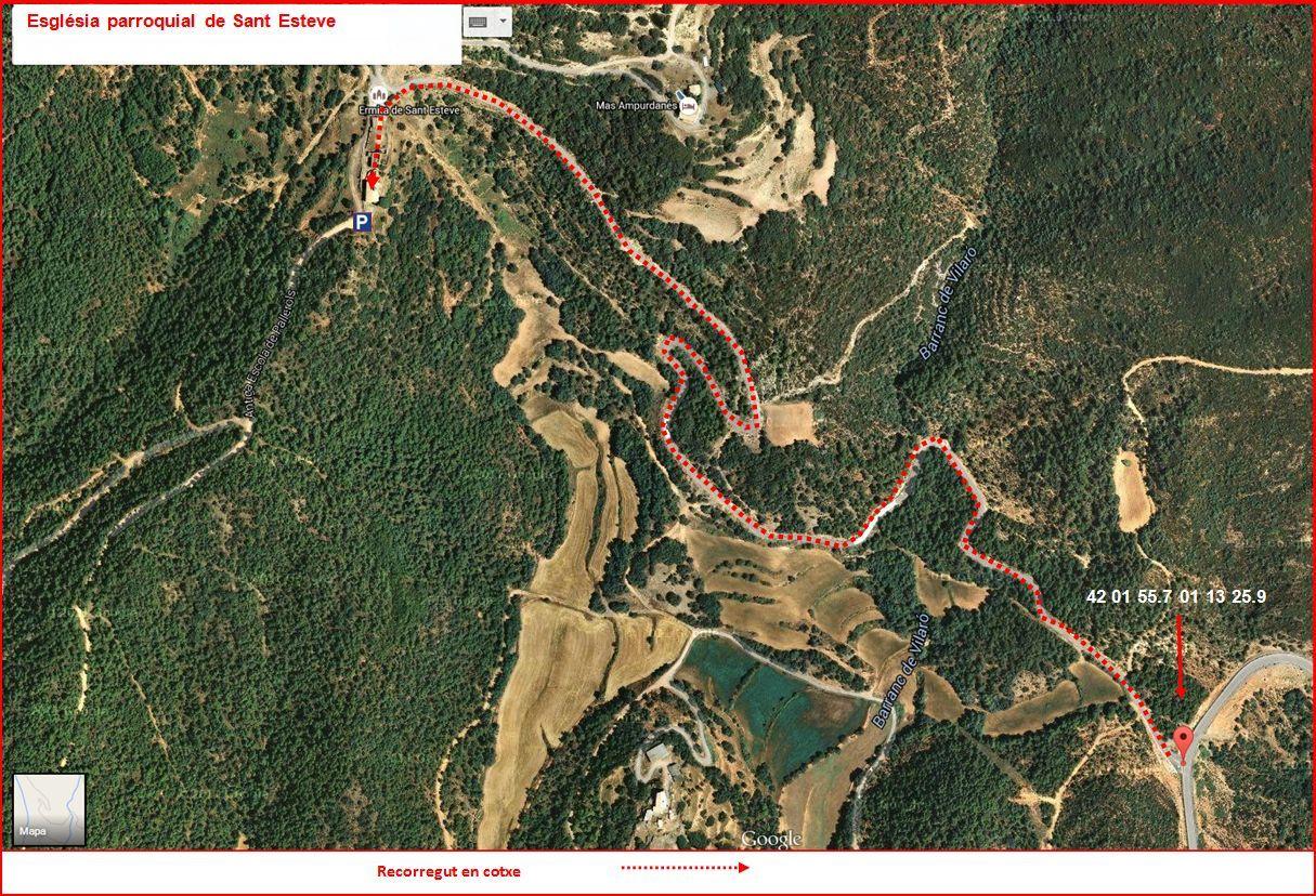 Baronia de Rialb - ITINERARI - Part final - Captura de pantalla de Google Maps, complementada amb anotacions manuals