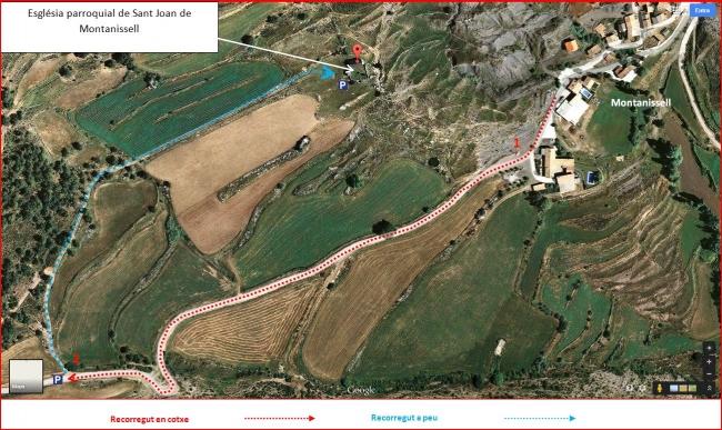 Església parroquial de Sant Joan de Montanissell – Coll de Nargó - Itinerari - Captura de pantalla de Google Maps, complementada amb anotacions manuals.