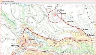 Església parroquial de Santa Magdalena – Pontons - Itinerari - Captura de pantalla d'un mapa del Institut cartogràfic de Catalunya , complementada amb anotacions manuals.