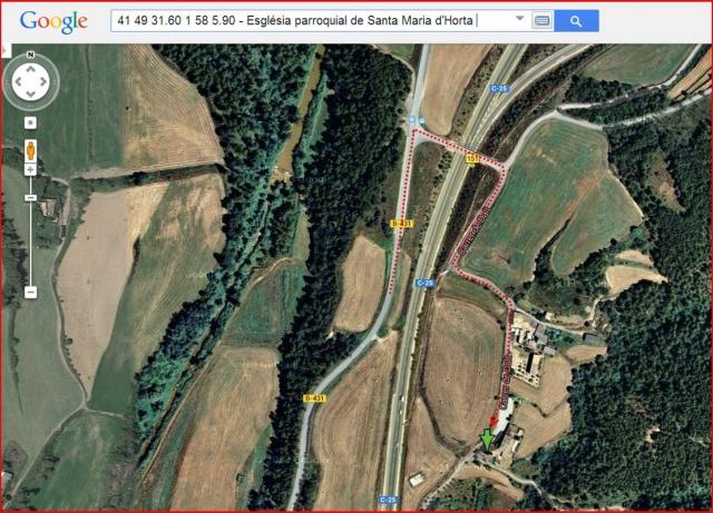 Església parroquial de Santa Maria – Horta d'Avinyó - Captura de pantalla de Google Maps, complementada amb anotacions manuals.