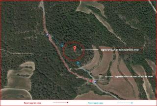Església VELLA de Sant Martí de Joval – Clariana de Cardener - Itinerari - Captura de pantalla de Google Maps, complementada amb anotacions manuals