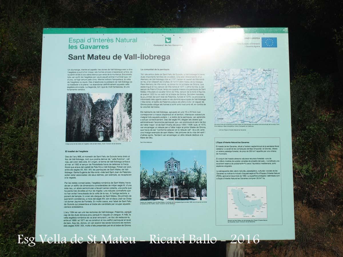 Església VELLA de Sant Mateu – Vall-llobrega - Plafó informatiu