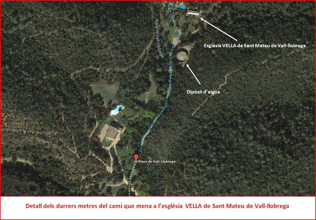 Església VELLA de Sant Mateu-Vall-llobrega - Detall darrera part del recorregut - Captura de pantalla de Google Maps complementada amb anotacions manuals