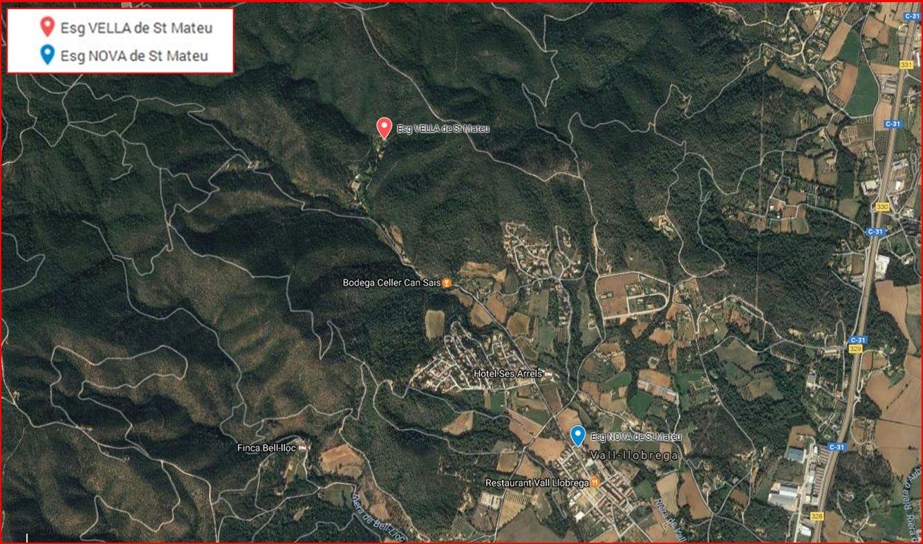 Esglésies VELLA i NOVA de Sant Mateu-Vall-llobrega - Detall situació - Captura de pantalla de Google Maps