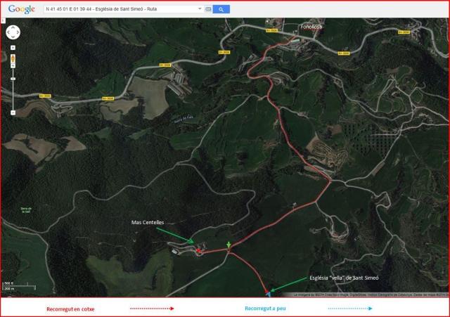 Camí d'accés a l'Església vella de Sant Simeó de Centelles – Rajadell - Ruta - Captura de pantalla de Google Maps, complementada amb anotacions manuals.