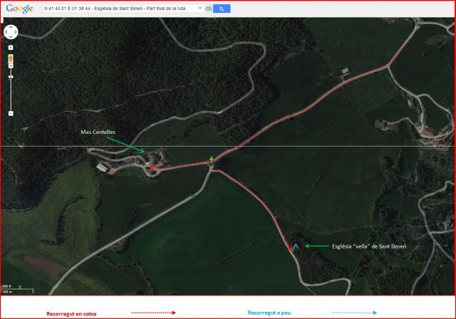 Camí d'accés a l'Església vella de Sant Simeó de Centelles – Rajadell - Ruta - Part final - Captura de pantalla de Google Maps, complementada amb anotacions manuals.
