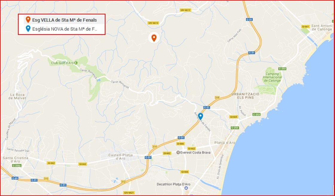Esglésies VELLA i NOVA de Sª Mª de Fenals-Google Maps